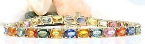 16.99 Carat Natural Sapphire 14K Yellow Gold Luxury Tennis Bracelet