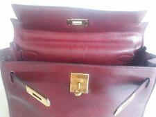 Auth Hermes Kelly 28 box calf leather handbag purse