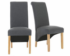 Premium Faux Leather and Linen Fabric Dining Chairs Roll Top Scroll Wood Grey 4