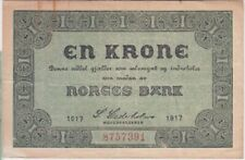 Norway banknote P13a-7391 1 Krone 1917, VF,  WE COMBINE