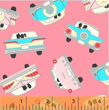 Windham Pink 1950s Classic Cars GOING STEADY fabric novelty rockabilly retro 1m
