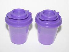 TUPPERWARE Midget Mini Small Salt Pepper Shaker Gadget Purple On the Go Personal