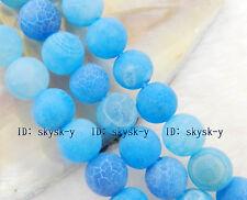 "8mm Blue Dream Fire Dragon Veins Agate Round Gems Loose Beads 15"""