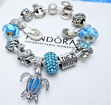 Authentic Pandora Silver Bangle Bracelet With Beach Vacation European Charms.