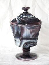 HTF IMPERIAL PURPLE SLAG GLASS WHISKBROOM FOOTED COVERED JAR CANDY DISH #611