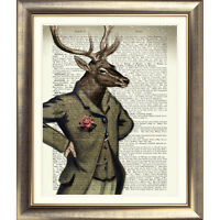 DICTIONARY ART PRINT ON ORIGINAL ANTIQUE BOOK PAGE STAG Animal DEER Old Picture