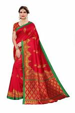 Beautiful Silk Saree Designer Party Wear Sari with Blouse Piece (Red Free Size)