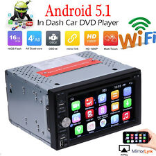 """Android 5.1 7"""" Double 2Din Car Radio Stereo DVD Player GPS Nav OBD BT 3G WiFi HD"""