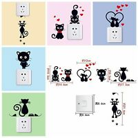 5pcs Black Love Heart Cat Switch Sticker Wall Decal Bedroom Parlor Home Decor