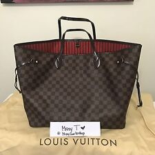 Louis Vuitton Neverfull GM Damier Ebene Red Interior