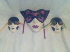 3 WHIMSY Mardigra Asian Cat Ceramic Wall Art Decor Mask Pink Black Green Yellow