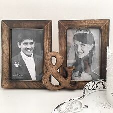 WOOD MULTI PHOTO PICTURE FRAME SHABBY VINTAGE CHIC WOODEN WEDDING MR & MRS GIFT