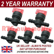 5X FUEL DIESEL PETROL SHUT/CUT OFF STOP VALVE 6MM IN OUT LAWN MOWER IMMOBILISER