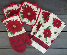 5Pc Christmas Poinsettia & Holly Red Kitchen Set-Hand Towels,Oven Mitt,Potholder