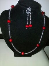 Earing and Necklace set . Coral bead, silver, glass and swarovski beads