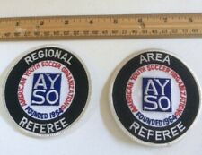 """2 uniform patches Ayso Soccer Regional + Area Referee 3"""" + Ayso pins Free S/H"""