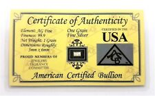 1/15 Gram .999 Fine Silver Bullion Bar - in Certificate of Authenticity Card