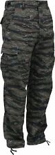TIGER STRIPE CAMOUFLAGE BDU PANTS MILITARY CARGO 6 POCKET FATIGUE TROUSERS