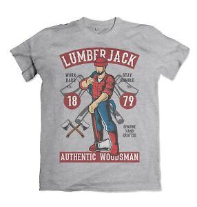 Lumberjack mens t shirt Wood Axe Lumber Work Saw S-3XL