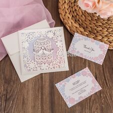 10x Love Bird Laser Cut Wedding Invitation Card w/Free RSVP & Wishing Well Card