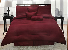 7 PIECE COMFORTER SET QUEEN SIZE ELEGANT SOLID BURGUNDY COLOR NEW FREE SHIPPING!