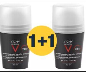 Vichy HOMME 72hr Anti-Perspirant Deodorant Extreme Control 2 x 50ml