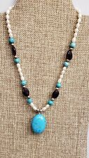 HEAVY TURQUOISE LOOKING PENDANT BEADED NECKLACE