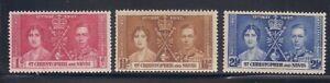 St. Kitts N.  1937   Sc # 76-78   Coronation   MLH  OG   (5034)
