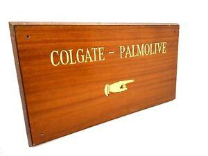 Antique Vintage Sign Wooden COLGATE PALMOLIVE  Original Salvage Office