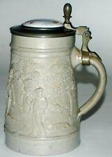 "1 Liter Regensburg Stein ""Hunters"" w 2 Sided Suggestive Porcelain Insert Lid"