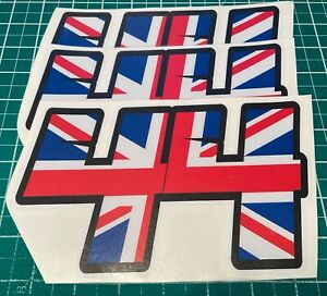 3 X Racing Numbers with Union Jack  - Vinyl Stickers Decals Race Motorbike Mx