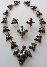 Parure Necklace Brooch Earrings Vintage Signed Sterling Silver Grape