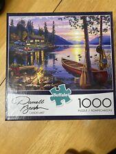 "Buffalo Games 1000 Piece Jigsaw Puzzle, ""Canoe Lake"" by Darrell Bush w/ poster"