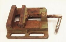 Vtg Cast Iron Machinist Drill Press Mill Machine Cnc Bench Vise 4 Jaws