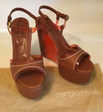 REDUCED NWOB SERGIO ROSSI Brown leather platform wedge size 39