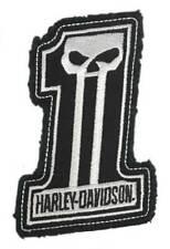 Harley-Davidson Dark Custom #1 Skull Frayed Emblem Patch 4 X 3 Inches - White