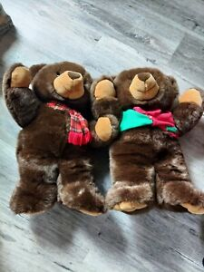 Lot of 2 Vintage JC Penny Teddy Bear Stuffed Animal Toy Plush Holiday. Large!