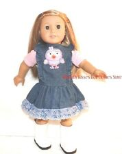 Owl Ruffle Denim Jumper Dress + Shirt 18 in Doll Clothes Fits American Girl