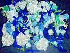 250+ Satin Ribbon Roses and Bows-Shabby Mix-Blues