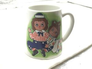 Raggedy Ann Andy 1971 Cup Mug With Working Music Box Vintage Chim Chim Song