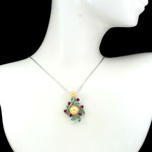 Unheated Marquise Green Emerald 5x2.5mm Pearl Ruby 925 Sterling Silver Necklace