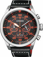 Citizen Eco-Drive Solar Powered Leather Strap Chrono Mens Steel Watch CA4210-08E