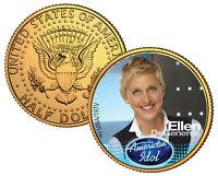 ELLEN DeGENERES ** American Idol 2009 ** JFK Half Dollar 24K Gold Plated US Coin