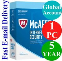 McAfee Internet Security 1 PC / 5 YEAR (Account Subscription) 2020