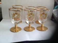 6x Vintage 1953 Coronation Of Elizabeth II Gilded Rummer Glasses,barley Twist