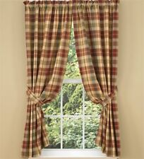 "Park Designs Saffron Lined Window Panels Curtains 72"" x 63"" Plaid Tan Reds"