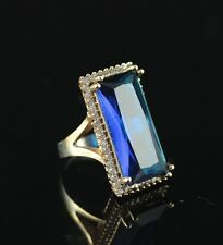 TURKISH HANDMADE SAPPHIRE TOPAZ STERLING SILVER 925K RING SIZE 7,8,9,10 #MY71
