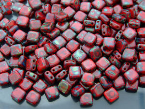 25pcs CzechMates Tile Beads Picasso Opaque Red 2