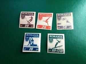 Romania 1946 OSP Football Athletics Climbing Ski Swimming Sport Imperf  MNH