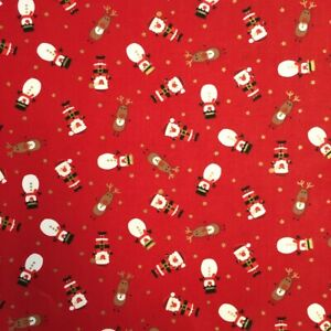 Christmas Characters Red Festive Cotton Craft Bunting Novelty Dress Fabric